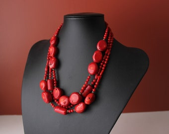 Multistrand Red bamboo coral necklace sterling silver 925