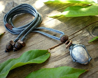 macrame stone necklace for men. wrapped crystal pendant mens. blue calcite healing gemstone jewelry. unisex gifts. hippy guy festival gifts