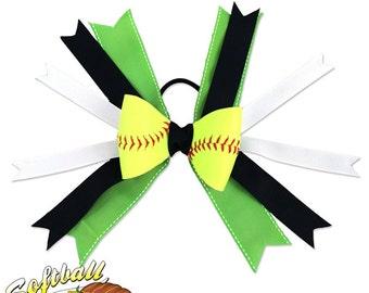 Softball Hair Bow - Lime Green Black