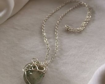 Silver-wrapped Natural Stone Pendant & Chain