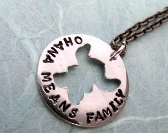 Stitch -  Ohana Means Family - Hand Stamped Precious Metal Pendant Necklace Lilo & Stitch