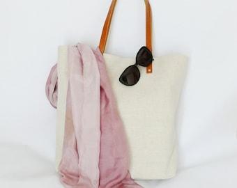 Medium Tote, Natural Hemp Bag, Leather Handles Tote Bag, Shopper, Beach Bag