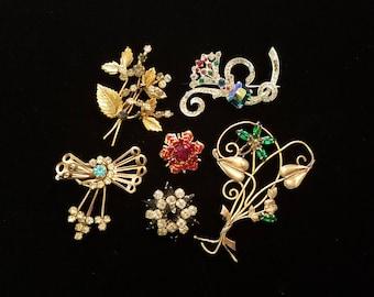 Vintage brooch lot for craft or repair