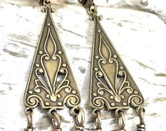 Long Blue and Brass Earrings, Ornate Lapis Lazuli Dangles, Exotic Art Deco Chandelier Drops, Something Blue Wedding Jewelry, Gift for Her