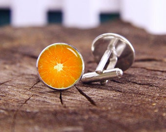 Orange Slice Cufflinks, Orange Cufflinks, Custom Fruits Cufflink, Fruit Tie Clip, Custom Wedding Cufflinks, Groom Cufflinks, Custom Fruit