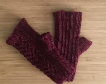 Hand knit burgundy fingerless gloves, lace merino alpaca blend fingerless mitts, hand knit lace fingerless mitts, hand knit gift.