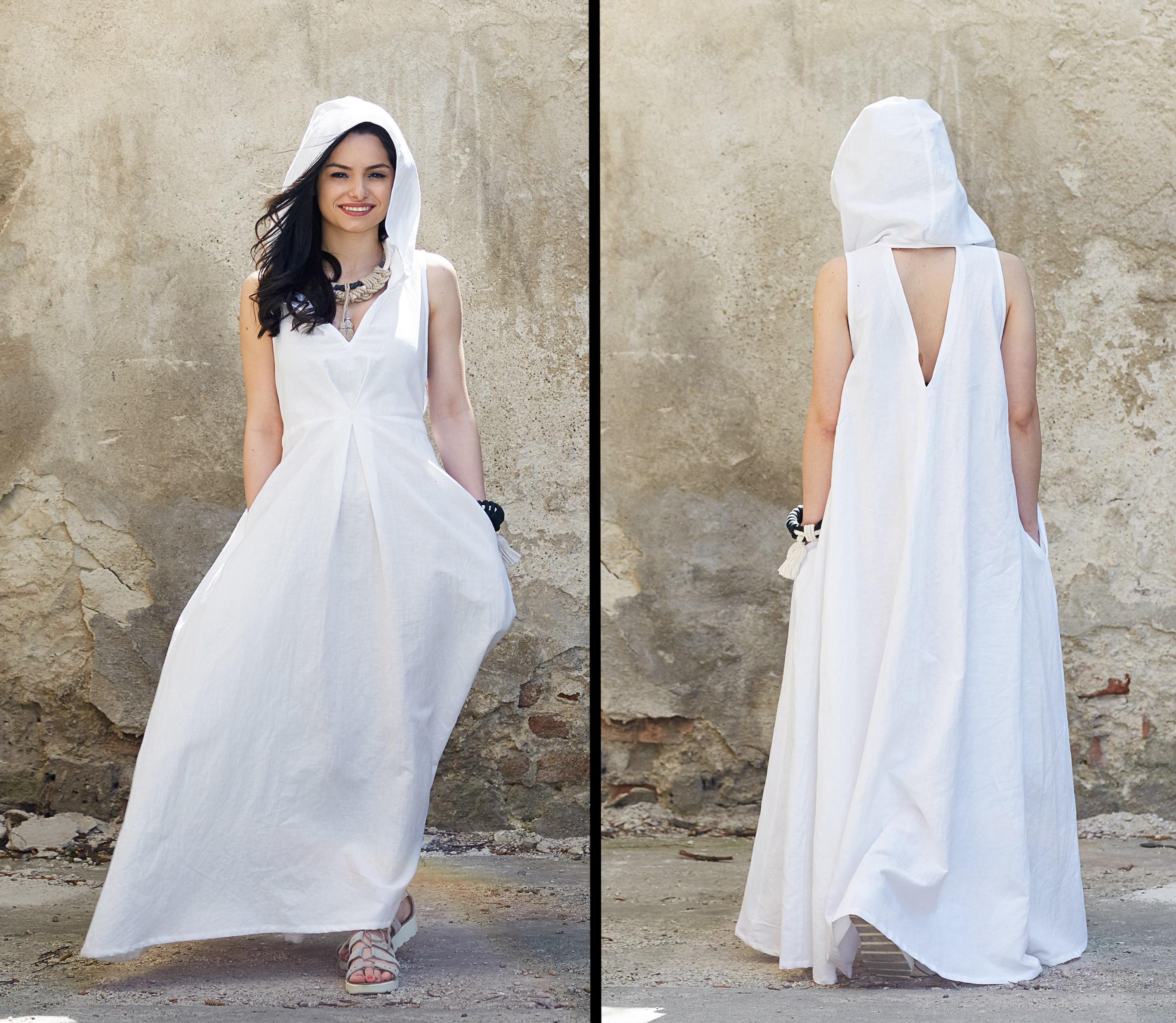 White Linen Dress Linen Maxi Dress Hooded Dress White Maxi