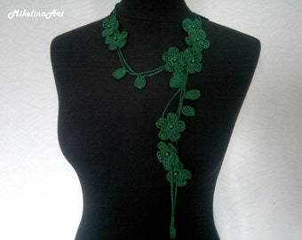 Crochet Necklace,Crochet Neck Accessory, Flower Necklace, Dark Green, 100% Cotton.