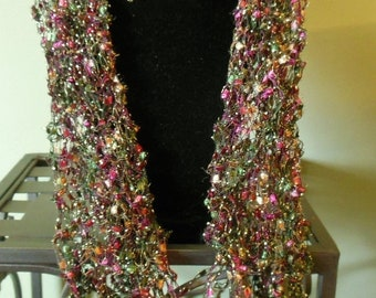 Hand Knit Purple, Green and Gold Metallic Scarf