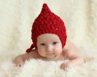 red pixie hat, knit pixie bonnet, baby bonnet, newborn bonnet, toddler bonnet, merino bonnet, autumn bonnet, spring bonnet, knit baby hat