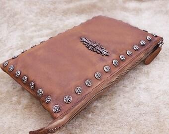 Brown Leather Clutch,Leather Zipper Clutch, Evening Clutch, Leather Clutch Bag,  Leather Wristlet Handbag, Shoulder Bag, Crossbody Bag