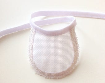 Bib for plush doll to cross-stitch, 11 cm, choice of color