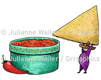People with Food: Nachos and salsa digital printable clipart