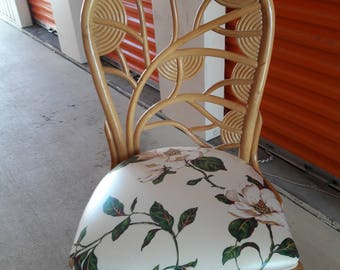 A BOUQUET To STAY / Unusual Single Rattan Chair With Reed Flower Detailing / Casual Chic / Palm Beach Chic