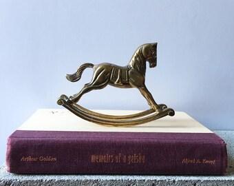 Vintage Brass Rocking Horse, Vintage Figurines, Bohemian Nursery Decor