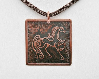 Copper Jewelry Equestrian Jewelry Etched Copper Horse Pendant Necklace Horse Jewelry