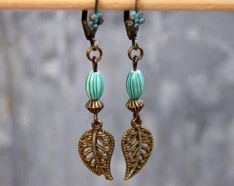 Leaf earrings, Tribal Earrings, Bohemian Earrings, Turquoise Earrings, Dangle Earrings, Boho Jewelry, Ethnic earings, Hippie Gift for her,,