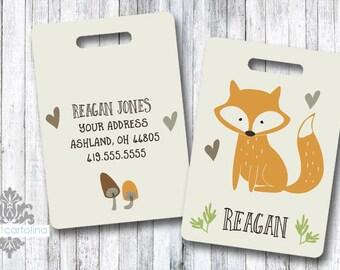 Luggage Tag | Personalized Bag/Luggage Tag | Kids Backpack Tag | Diaper Bag Tag | Custom Bag Tag | Travel Accessory | Woodland Fox Bag Tag