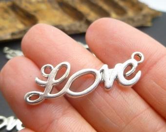 5 Silver Love charms - Bracelet Link Connectors - Wrapping Bracelet Making -MC0051