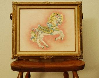 Original Oil Painting - Flourished Gilt Frame - Vintage Artwork - Don Crutchfield - Carousel Pony