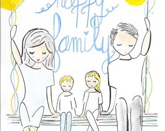 customizable poster portrait of family, up to 5 people