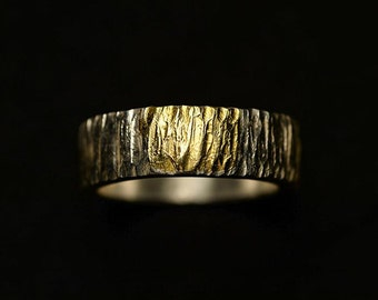 Textured Silver Band | Hammered Silver Band | Gold Inlay Ring | Rustic Wedding Band | Rough Silver Band | Tree Bark Band | Mens Thumb Ring