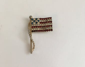Vintage American Flag Pin, Vintage Crystal Stars and Stripes Pin, Patriotic Pin, Lapel Pin, Support Troops, USA Flag Brooch, free shipping