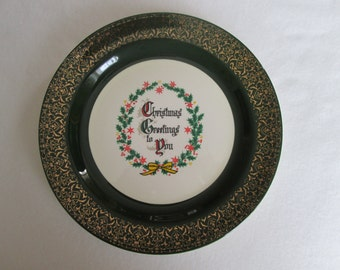 Vintage Homer Laughlin Christmas Greetings to You Holiday Christmas Plate Green Gold Trim Holly Leaves Berries G54N8