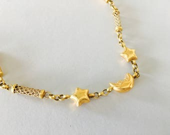 STARS MOONS NECKLACE, strand necklace, simplistic necklace, everyday jewels, bridesmaid, romantic gift for her, for girlfriend, for child
