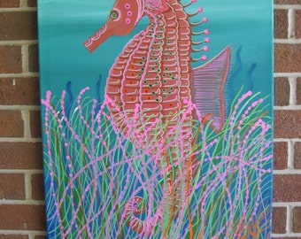 Seahorse Wall Decor Seahorse Painting On Sale Large Seahorse Painting Abstract Seahorse Beach Decor Hand Painted Seahorse Colorful Seahorse