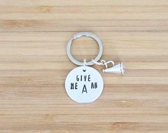 hand stamped keychain   cheerleading custom
