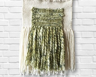 Sea Breeze | Gorgeous Neutral and Green Woven Wall Hanging | Handmade Tapestry | Woven Wall Art | Tapestry Weaving | Boho Wall Decor