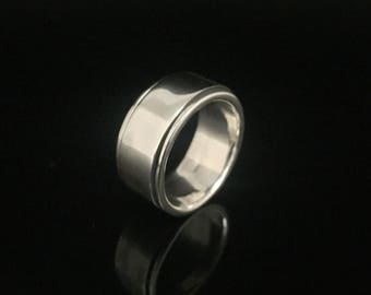 Wide Band Spinner Ring // 925 Sterling Silver // Silver Band Spinner Ring