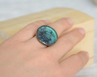 Statement big blue resin gem ring, hand painted large ring, adjustable size big brass ring, big jumbo round gem ring in wooden box