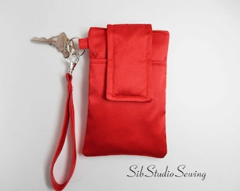 "Red Satin Wristlet, Fits iPhone 8, 7, Smartphones up to 5.75"" x 3.5"", Key Ring, Pocket, Red Satin Smartphone Clutch, Bridesmaid Wristlet"