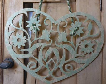Decoupaged Wooden heart, wedding or home decor, with three different ways to use this heart included