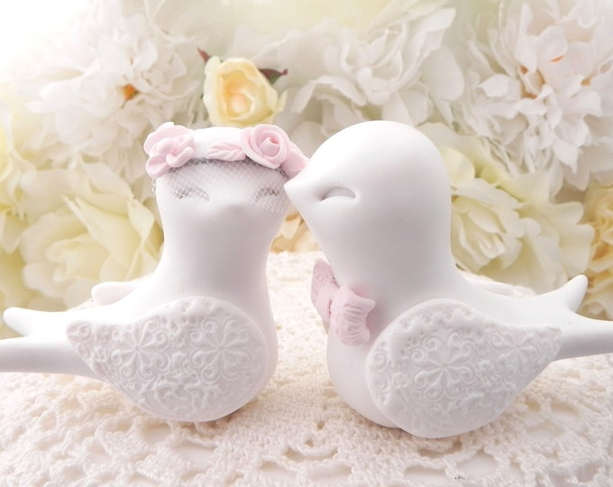 Swallowtail Love Bird Wedding Cake Topper, White and Blush Pink, Bride and Groom Keepsake, Fully Custom