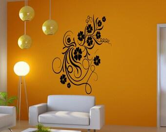 Vinyl Wall Decal Sticker Curly Flower Vines 5171m