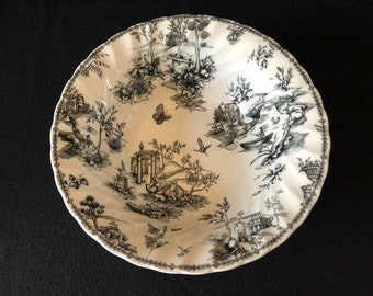 Churchill Black Toile Scalloped/Charcoal Vegetable/Serving Bowl (Made in England)