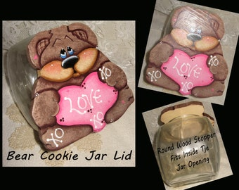 Cookie jar Lid,Valentine's Day Gift's,Wood Decor,Kitchen Decor,Painted Bear's,Wood Bears,Valentine's Day for Her,Painted Gift's