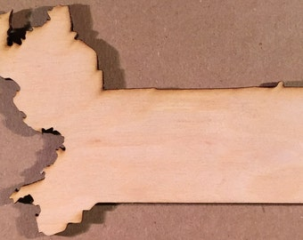 MA Massachusetts Wood Cutouts - Shapes for Projects or Other Use
