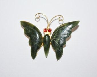 Vintage Jade Brooch Butterfly 1970s Jewelry