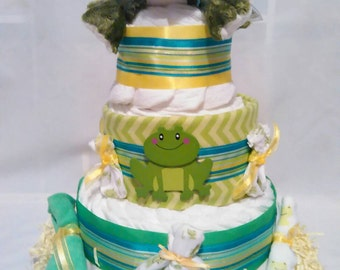 Frog Diaper Cake, diaper cake, frog cake, cake,diapers , centerpiece, girl diaper  cake, boy diaper cake