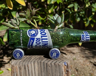Rolling Rock Beer Bottle Succulent Planter