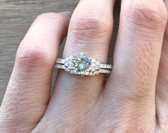 Aquamarine Bridal Set Ring- Genuine Aquamarine Engagement Ring Set- 6 Prong Round Aquamarine Ring- March Birthstone Ring- Blue Gemstone Ring