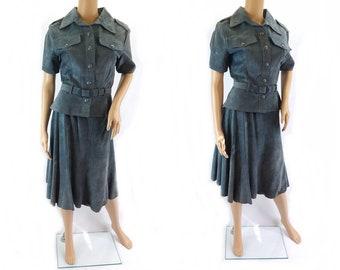 Vintage 1970s Blue Suede Skirt Suit Skirt Suit Dress - Size 10UK  6US