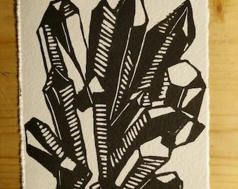 Crystal Linocut Print