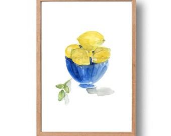 lemons art print, Lemons in Blue bowl art print, kitchen art,watercolor print, lemons print, Blue,Lemon Yellow, still life,Mediterranean