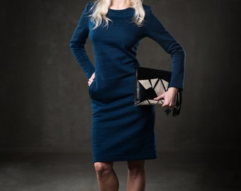 Women warm dress - Navy blue dress - Long sleeve dress - Cold season dress - Midi classical dress - Boat neck dress - Office dress -UM43L-14