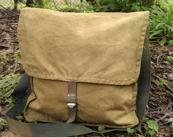 Vintage Shoulder Khaki Canvas Bag, Student Bag, Military Messenger Bag from 1970s, Unused Bag USSR type Cold War